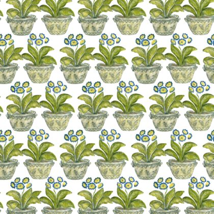 Linen fabric printed with repeat pattern of floral design in green