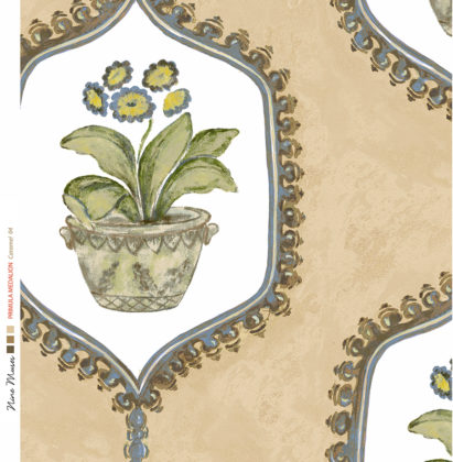 Linen fabric with hand painted design of potted flower and leaf in traditional geometric frame repeat pattern on caramel
