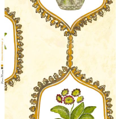 Linen fabric with hand painted design of potted flower and leaf in traditional geometric frame repeat pattern on pale yellow