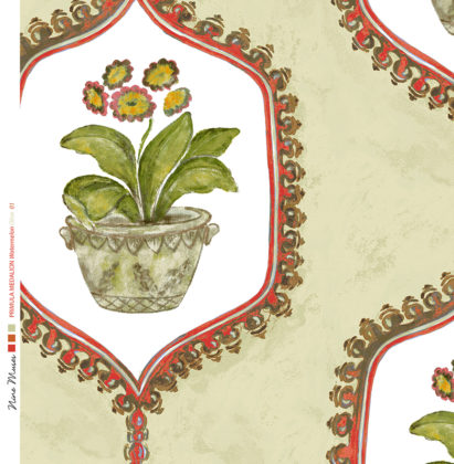 Linen fabric with hand painted design of potted flower and leaf in traditional geometric frame repeat pattern on olive
