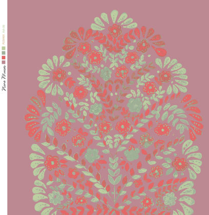 Linen fabric printed design with traditional floral decorative repeat pattern in red and green on dark pink background