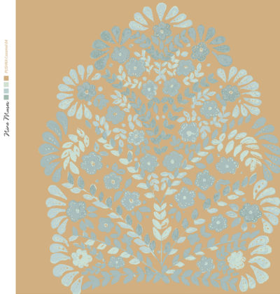 Linen fabric printed design with traditional floral decorative repeat pattern in taupe and grey on caramel background