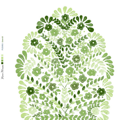 Linen fabric printed design with traditional floral decorative repeat pattern in green on white background