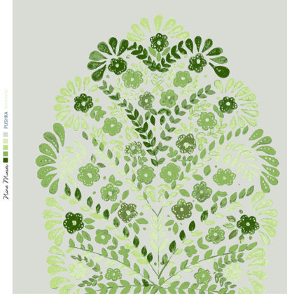 Linen fabric printed design with traditional floral decorative repeat pattern in green on ice grey background