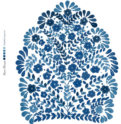 Linen fabric printed design with traditional floral decorative repeat pattern in indigo blue on white background