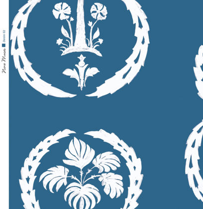 Linen fabric printed with simple palm tree repeat design with white pattern on denim blue background