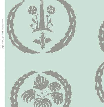 Linen fabric printed with simple palm tree repeat design with grey pattern on duckegg blue green background