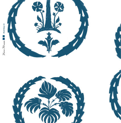 Linen fabric printed with simple palm tree repeat design with navy blue pattern on white background