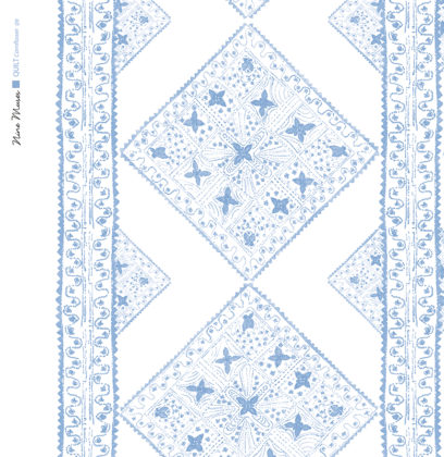Linen fabric printed with stripe and diamond quilt repeat pattern in pale and dark cornflower blue on white background