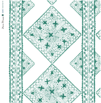 Linen fabric printed with stripe and diamond quilt repeat pattern in pale and dark teal green on white background