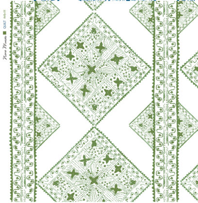 Linen fabric printed with stripe and diamond quilt repeat pattern in pale and bright green on white background