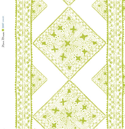 Linen fabric printed with stripe and diamond quilt repeat pattern in pale and lime green on white background