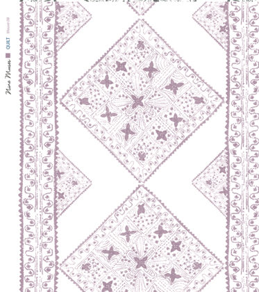 Linen fabric printed with stripe and diamond quilt repeat pattern in pale and dark purple on white background