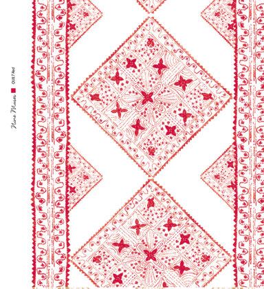 Linen fabric printed with stripe and diamond quilt repeat pattern in pale and dark red on white background