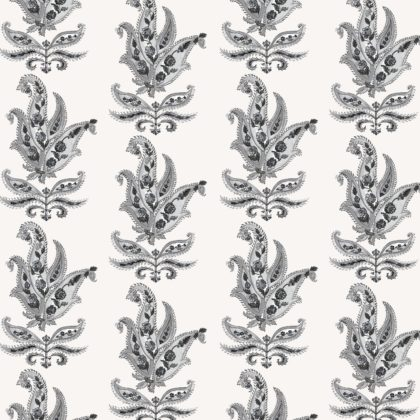 Linen fabric printed in traditional paisley pattern repeat design in charcoal