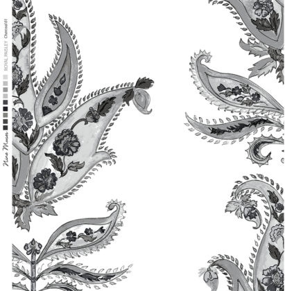 Linen fabric printed design with traditional large floral repeat pattern in charcoal on white background
