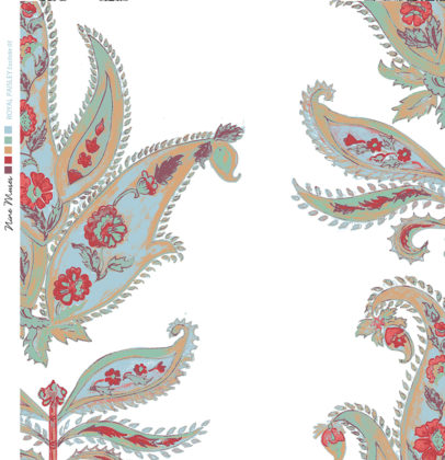 Linen fabric printed design with traditional large floral repeat pattern in red and pale blue green on white background