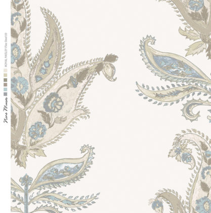 Linen fabric printed design with traditional large floral repeat pattern in pale grey on pale flax background