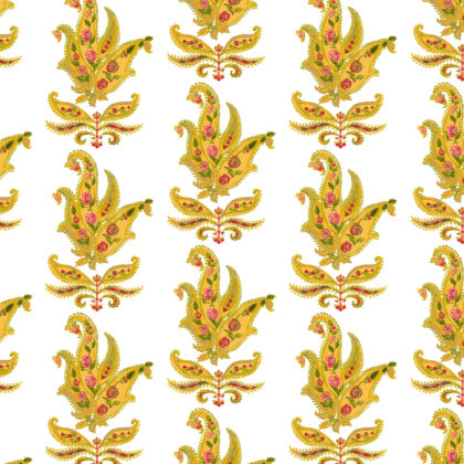 Linen fabric printed design with traditional large floral repeat pattern in gold and red on white background