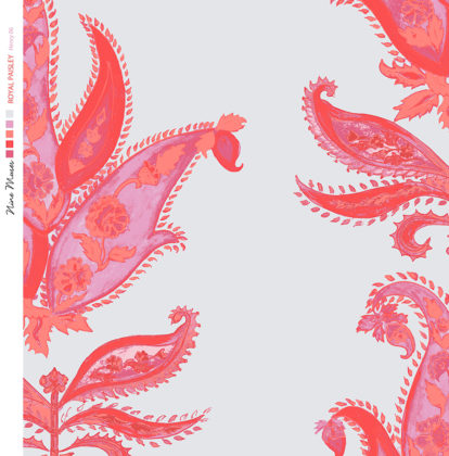 Linen fabric printed design with traditional large floral repeat pattern in bright pink on pale blue background