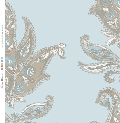 Linen fabric printed design with traditional large floral repeat pattern in taupe on pale ice blue background