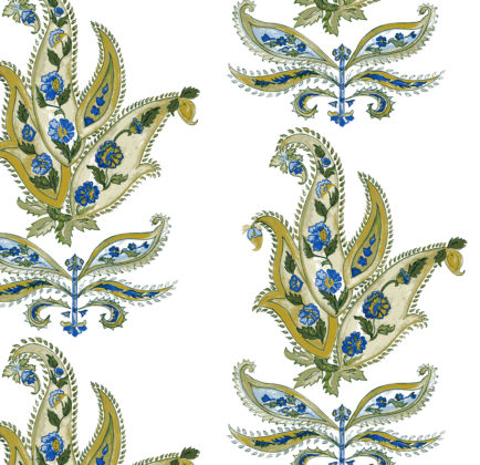 Linen fabric printed design with traditional large floral repeat pattern in green and blue on white background