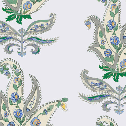 Linen fabric printed design with traditional large floral repeat pattern in green and blue on pale blue background