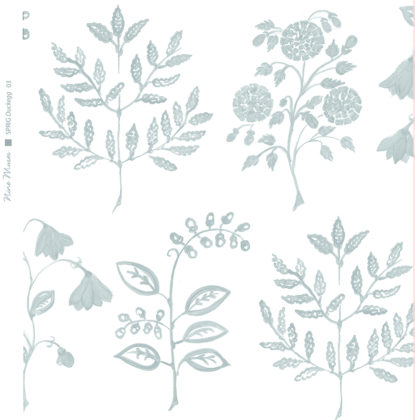 Linen fabric printed with a hand painted botanical leaf design repeat pattern in duckegg blue green on white background