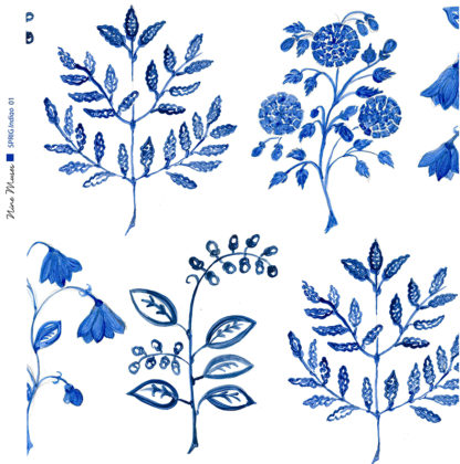 Linen fabric printed with a hand painted botanical leaf design repeat pattern in indigo blue on white background