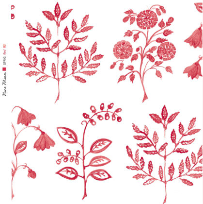 Linen fabric printed with a hand painted botanical leaf design repeat pattern in red on white background