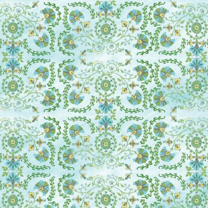 Linen fabric printed with traditional decorative design repeat pattern in greens on pale aqua washed background