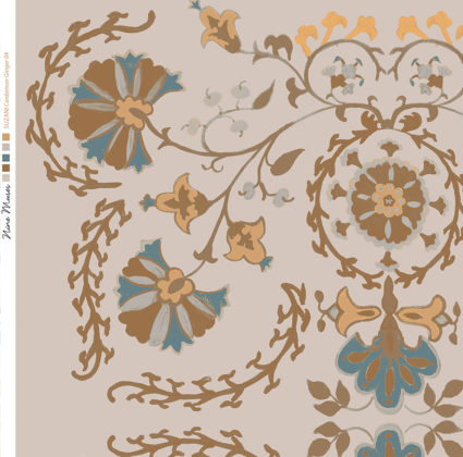 Linen fabric printed with traditional decorative design repeat pattern in pale brown teal and orange ginger on pale cardamom background
