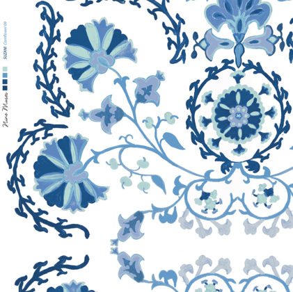 Linen fabric printed with traditional decorative design repeat pattern in cornflower and navy blue on white background