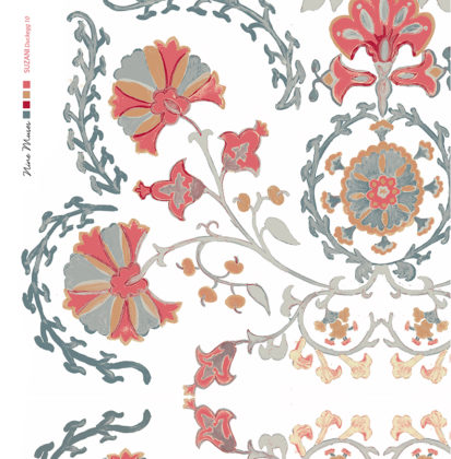 Linen fabric printed with traditional decorative design repeat pattern in duckegg blue green and red orange on white background