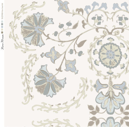 Linen fabric printed with traditional decorative design repeat pattern in pale grey on pale flax background