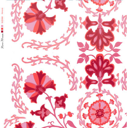 Linen fabric printed with traditional decorative design repeat pattern in bright pinks on white background