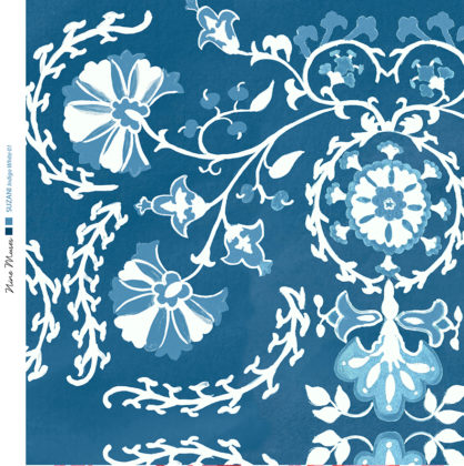 Linen fabric printed with traditional decorative design repeat pattern in pale blue and white on indigo background