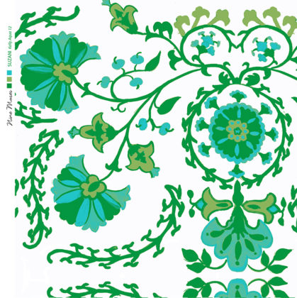 Linen fabric printed with traditional decorative design repeat pattern in bright green and aqua on white background