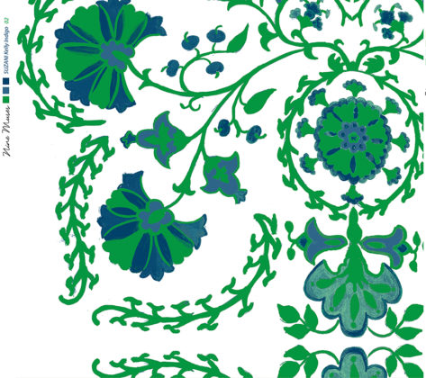 Linen fabric printed with traditional decorative design repeat pattern indigo blue and bright green on white background