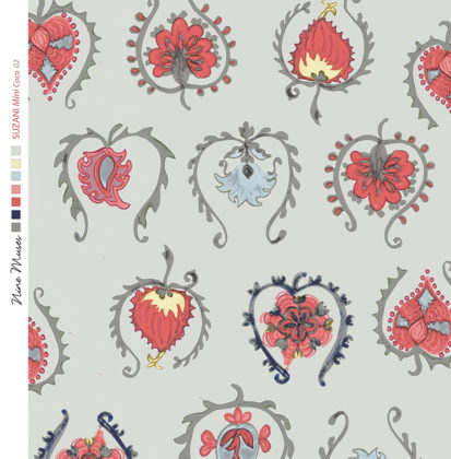 Linen fabric printed with hand painted decorative small design repeat pattern in pinks reds on pale duckegg background
