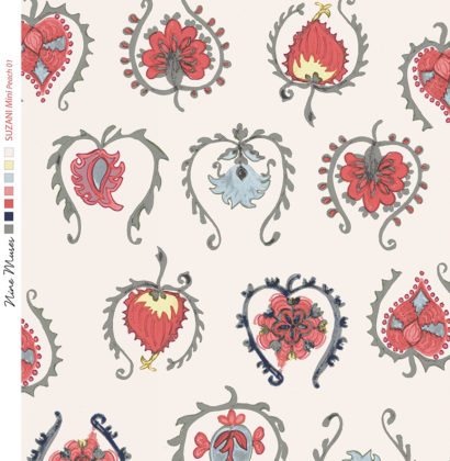 Linen fabric printed with hand painted decorative small design repeat pattern in pinks reds on pale peach background