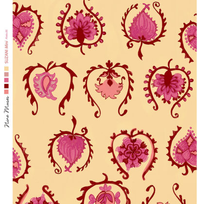 Linen fabric printed with hand painted decorative small design repeat pattern in pinks reds on pale orange background