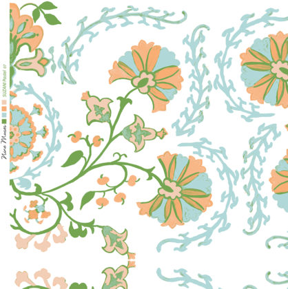 Linen fabric printed with traditional decorative design repeat pattern in pastel blue orange green on white background