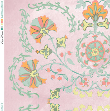 Linen fabric printed with traditional decorative design repeat pattern in pastels on pale pink background