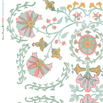 Linen fabric printed with traditional decorative design repeat pattern in pastels on white background