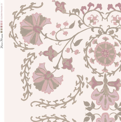 Linen fabric printed with traditional decorative design repeat pattern in pale pinks on pale pink background