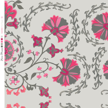 Linen fabric printed with traditional decorative design repeat pattern in bright pinks and green on taupe background