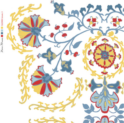 Linen fabric printed with traditional decorative design repeat pattern in tomato red blue and yellow on white background