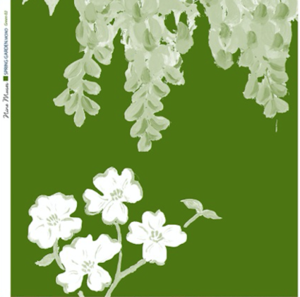 Linen fabric printed with a hand painted large floral design repeat pattern in pale green and white on bright green background