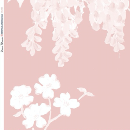 Linen fabric printed with a hand painted large floral design repeat pattern in white on pale pink background